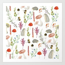 Woodland foliage & porcupines pattern Art Print