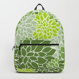 Dahlia Flowers, Petals, Blossoms - Green White Backpack