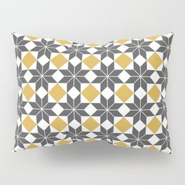 8 Point Star Pattern, Spicy Mustard, Charcoal Black Pillow Sham