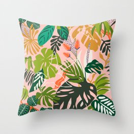 Simple drawing of pink jungle Throw Pillow