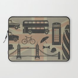 vector set of London landmarks Britain symbols isolated Laptop Sleeve