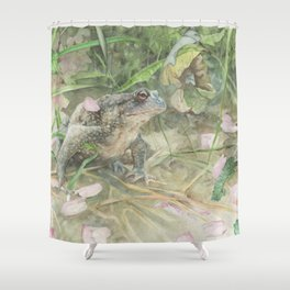Toad with Cherry Blossom Petals Shower Curtain