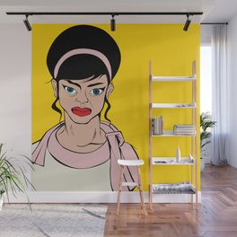 Retro looking angry woman. Pop Art. Wall Mural