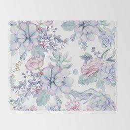 Pretty Blue Pink Succulents Garden Throw Blanket