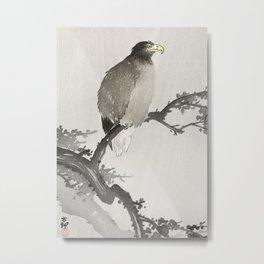 Eagle sitting on tree - Japanese vintage woodblock print art Metal Print