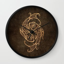 Vintage Rustic Pisces Zodiac Sign Wall Clock