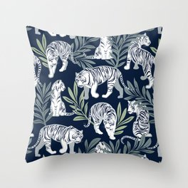 Nouveau white tigers // navy blue background green leaves silver lines white animals Throw Pillow