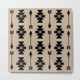 Southwestern Arrow Pattern 232 Black and Beige Metal Print