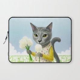 A cat sitting in the flower garden Laptop Sleeve