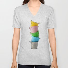 Colorful buckets, stacked vertically Unisex V-Neck