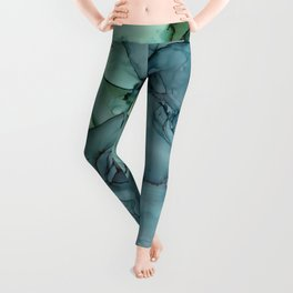 Green Blue Mist Abstract Painting Leggings