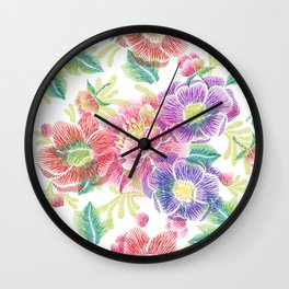 Colorful lowers Collage Pattern Wall Clock