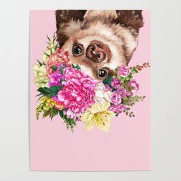 Flower Crown Baby Sloth in Pink Poster