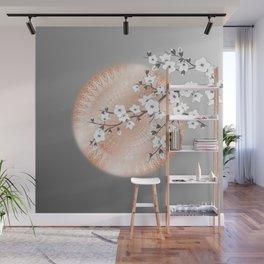 Japanese Cherry Blossom Rose Gold Gray Wall Mural