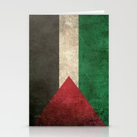 palestine Stationery Cards featuring Old and Worn Distressed Vintage Flag of Palestine by Jeff Bartels