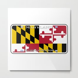 Maryland License Plate Flag Metal Print