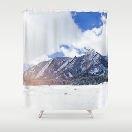 Flatirons in Snow Shower Curtain