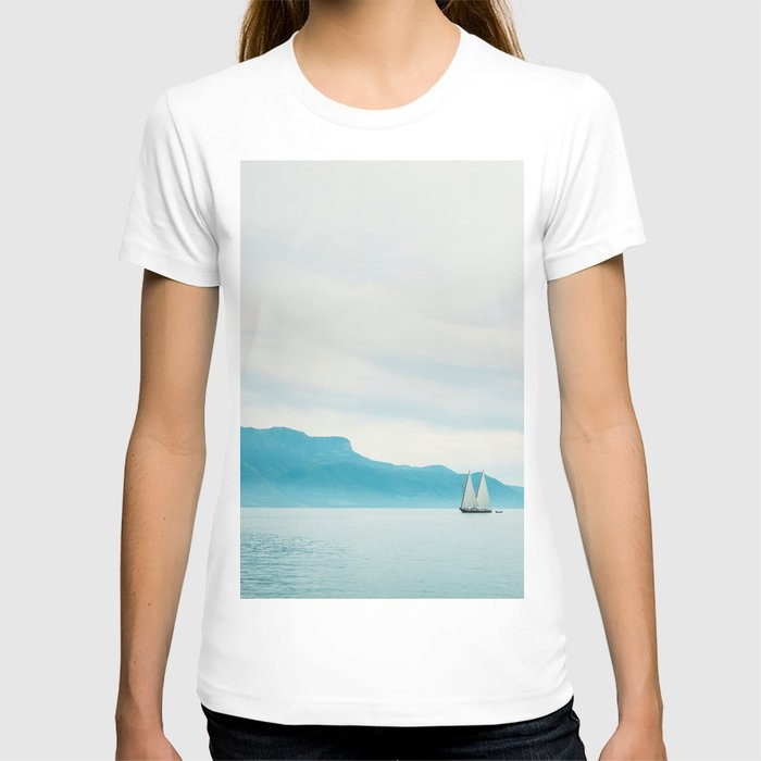 Modern Minimalist Landscape Ocean Pastel Blue Mountains With White Sail Boat T-shirt