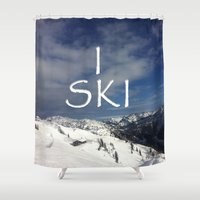 ski Shower Curtains featuring I SKI by BACK to THE ROOTS