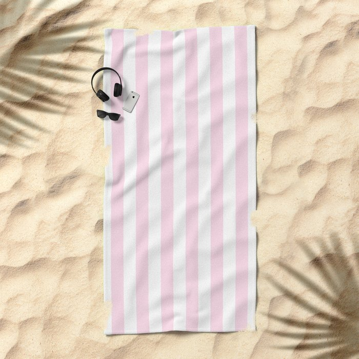 Simple Pink and White stripes, vertical Beach Towel