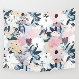 Pretty Grayish Blue Watercolor Pink & White Floral Design Wall Tapestry