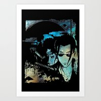 samurai champloo Art Prints featuring Samurai Grunge by BradixArt