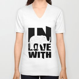 In Love With Elephants Gift Unisex V-Neck