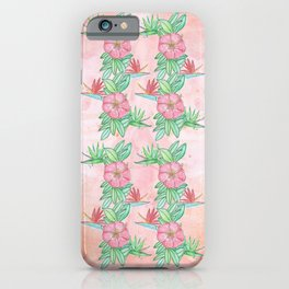 Tropical flowers and leaves watercolor iPhone Case