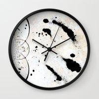 radio Wall Clocks featuring Radio Frequency by Angela Pesic