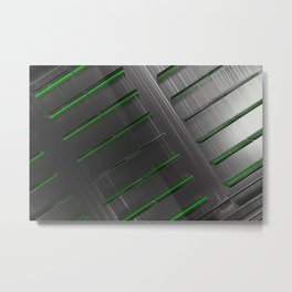 Futuristic technology, brushed metal shapes with glowing lines Metal Print