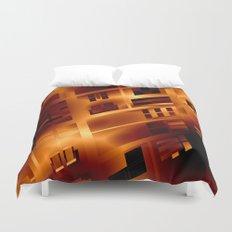 Abstract 379 Orange Geometric Windows Duvet Cover
