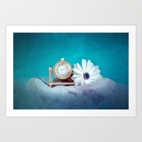 TIMELESS - Still life with clock and flower Art Print