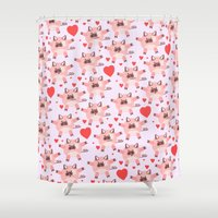pigs Shower Curtains featuring pigs by elvia montemayor
