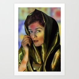 Lady in satin green Art Print