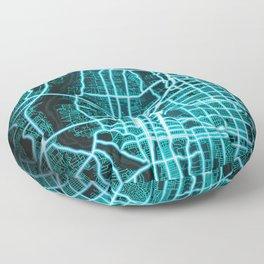 Albuquerque, NM, USA, Blue, White, Neon, Glow, City, Map Floor Pillow