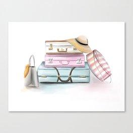 Pastel Suitcases Canvas Print