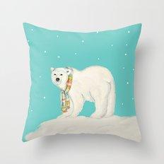 Chilly polar bear in winter Throw Pillow