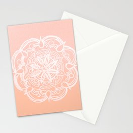 Peach Blush Romantic Flower Mandala #3 #drawing #decor #art #society6 Stationery Cards