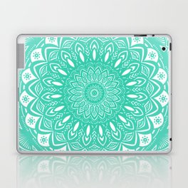 Minimal Aqua Seafoam Mint Green Mandala Simple Minimalistic Laptop & iPad Skin