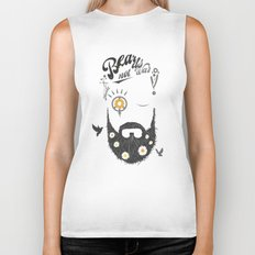 Make Beards not War (typo edition) Biker Tank