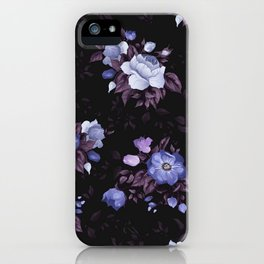Purple Glowing Flowers In The Dark Of Night Floral Pattern iPhone Case