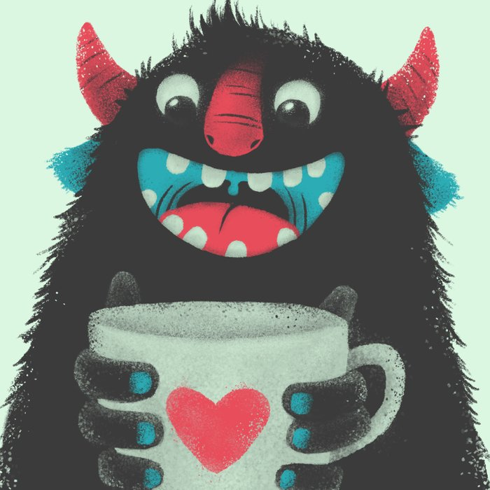 Demon with a cup of coffee Comforters