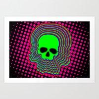 Halftone Pop Skull Art Print
