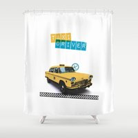 taxi driver Shower Curtains featuring Taxi driver by Marta Colomer