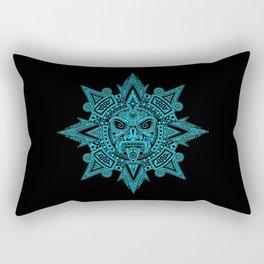 Ancient Blue and Black Aztec Sun Mask Rectangular Pillow