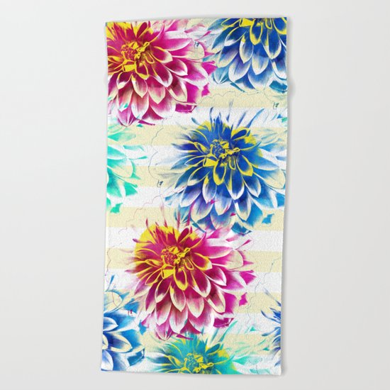 Colorful Dahlias Beach Towel