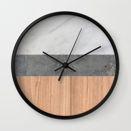 Carrara Marble, Concrete, and Teak Wood Abstract Wall Clock