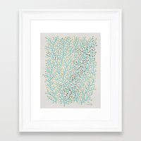 silver Framed Art Prints featuring Berry Branches – Turquoise & Gold by Cat Coquillette