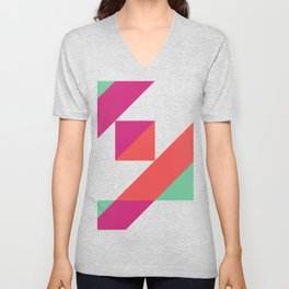 Hot Pink, Neon Grapefruit and Neon Turquoise Color Block Unisex V-Neck