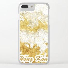 Hong Kong Map Gold Clear iPhone Case